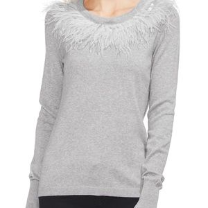 Vince Camuto grey feathered scoop neck sweater.